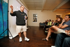 David Hobby, Strobist, speaks at the studio of Love Life Images for a Photo Nights for Charity